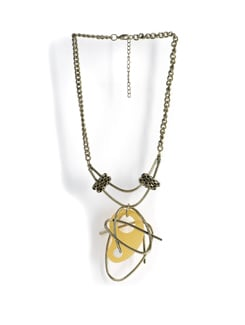 Designer Necklace With Yellow Pendant - Tribal Zone