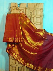 Orange, Maroon And Gold Benarasi Cotton Saree - BANARASI STYLE