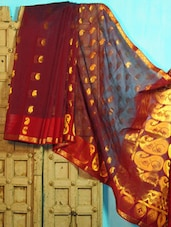 Deep Maroon And Golden Benarasi Cotton Saree - BANARASI STYLE