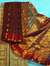 Purple And Maroon Benarasi Cotton Saree - BANARASI STYLE