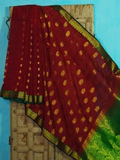 Maroon And Green Benarasi Cotton Saree - BANARASI STYLE