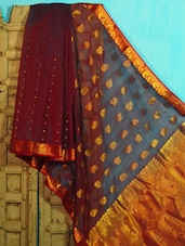 Maroon And Gold Benarasi Cotton Saree - BANARASI STYLE