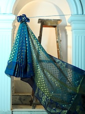Blue And Dusty Gold Art Silk Benarasi Saree - BANARASI STYLE