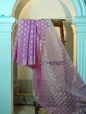 Mauve And Dusty Gold Cotton Net Benarasi Saree - BANARASI STYLE