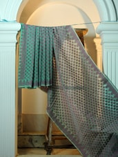 Green And Lilac Cotton Net Benarasi Saree - BANARASI STYLE