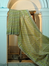 Green And Grey Cotton Net Benarasi Saree - BANARASI STYLE