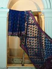 Blue Base Pure Net Benarasi Saree - BANARASI STYLE