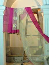 Off-white And Magenta Pure Net Benarasi Saree - BANARASI STYLE