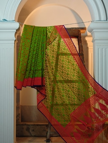 Green And Pink Pure Net Benarasi Saree - BANARASI STYLE