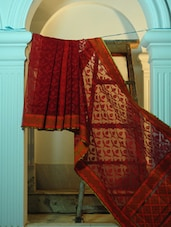 Red Pure Net Benarasi Saree With Orange Border - BANARASI STYLE