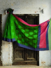 Bright Green Pure Net Benarasi Saree With Blue And Pink Border - BANARASI STYLE