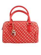 Red And Ivory Handbag With Box-Weave Effect - Eske