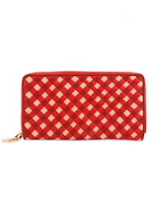 Red And Ivory Clutch With Box-Weave Effect - Eske