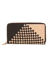 Black And Light Beige Clutch With Box-Weave Effect - Eske