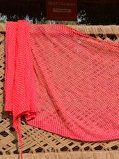 Red And White Printed Saree - Desiblush