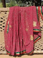 Dark Pink Printed Saree - Desiblush