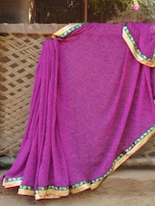 Purple Paisley Print Georgette Saree - Desiblush