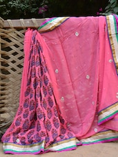 Pink And Blue Printed Saree - Desiblush
