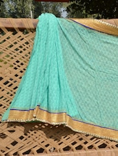 Mint Green And Gold Saree - Desiblush