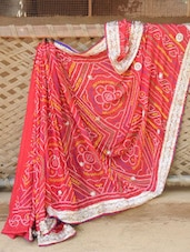 Vibrant Red Printed Saree With Gold Border - Desiblush