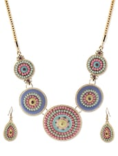 Multi-coloured Beaded Necklace And Earrings Set - YOUSHINE