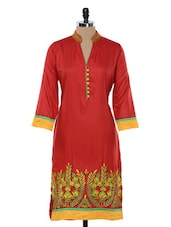 Bright Red Embroidered Kurta - Inara Robes