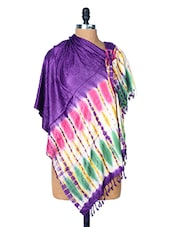 Purple Dupatta With A Multi-coloured Border - Dupatta Bazaar