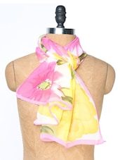 White And Pink Floral Printed Stole - Dupatta Bazaar