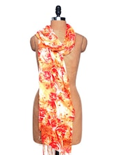 White And Red Floral Print Scarf - Dupatta Bazaar