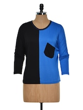 Blue And Black Two-Tone Top - Golden Couture