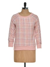 Peach And White Checks Top - Golden Couture
