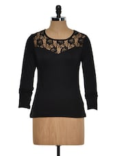 Solid Black Lacy Yoke Top - Golden Couture