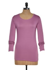 Solid Purple Full-Sleeved Top - Golden Couture