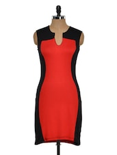 Red And Black Sleeveless Dress - Golden Couture