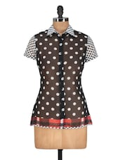 Polka Dotted Shirt Collar Black Top - Meira