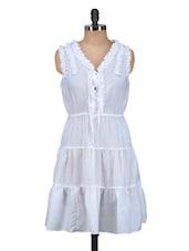 Plain White A-line Dress - Meira