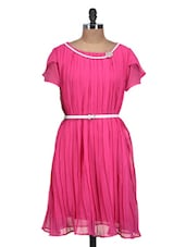Bright Pink Dress With Faux Pearl Embellishment - QUEST