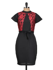Solid Black Dress With Red Lace - QUEST