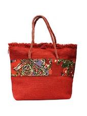 Red Matte Jute Handbag - ANGES BAGS