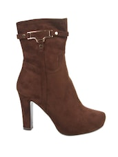 Brown Side Zipper Ankle Length Boots - Kiss Kriss