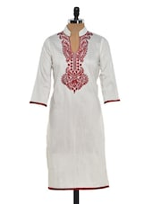 Elegant Off White Kurta With Rich Maroon Embroidery - Sohniye