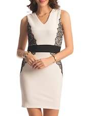 White Black Lace Applique Dress - PrettySecrets
