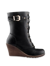 Black Lace-up Wedge Boots - KIELZ