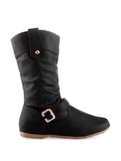 Black Zip-up Buckled Boots - KIELZ