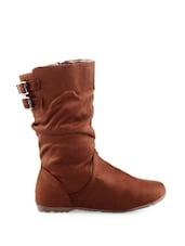 Brown Buckled Calf-length Boots - KIELZ