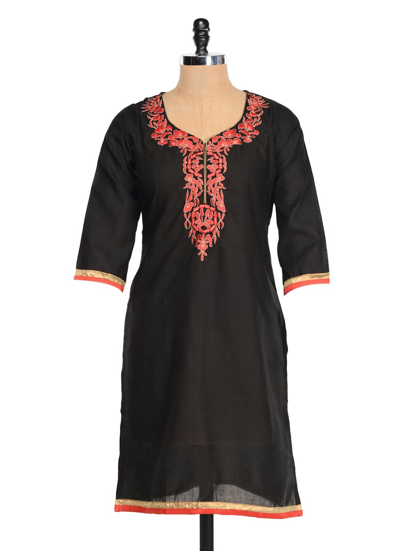 Black Kurti With Red Embroidery - RIYA