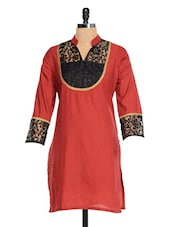 Maroon Kurti With A Black Lace Yoke - RIYA