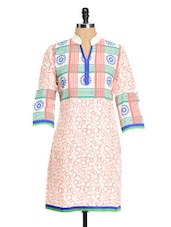 White And Pink Printed Kurta - RIYA