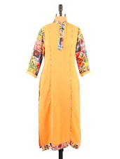 Orange Digital Print Long Kurti - Fashion 205
