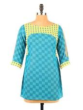 Check Printed Blue Crepe Short Kurti - Fashion 205